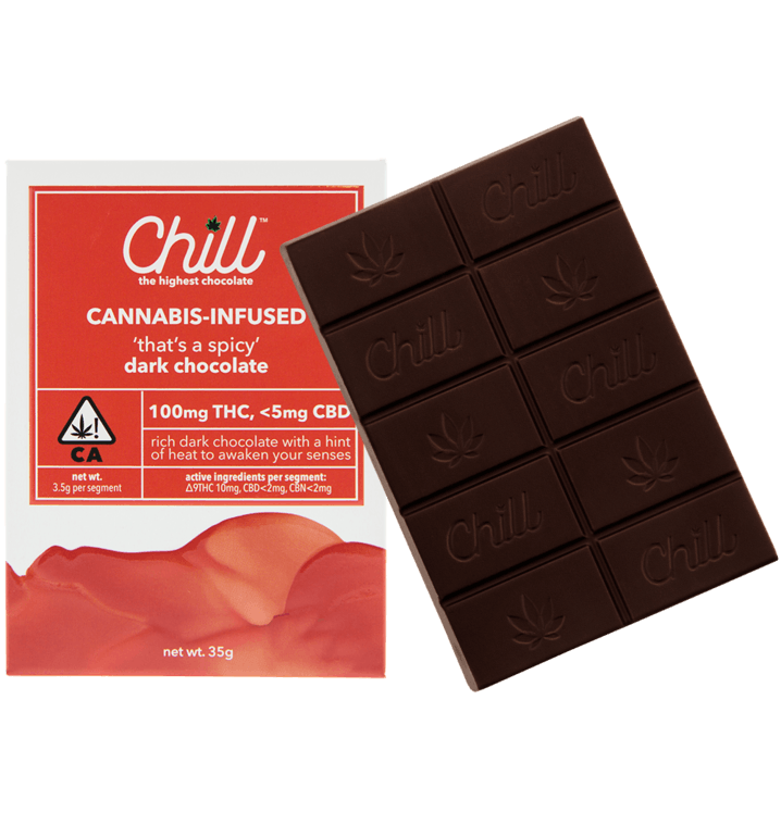 """Chill 'thats a spicy"""" Dark Chocolate 100mg"""