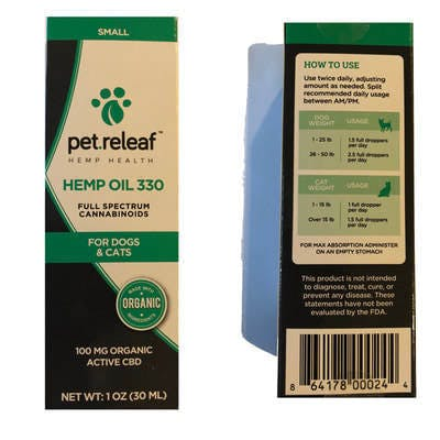 Pet.Releaf 330 Tincture 100mg cats & small dogs